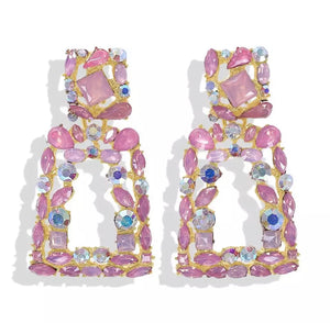 "Pink - ""Milan"" Diamanté Earrings"