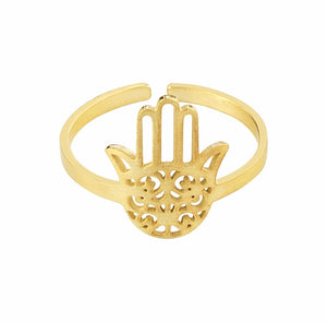 Hamsa Hand Adjustable Ring - dumiyah