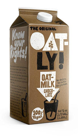 Image of 32oz Oatly Chocolate Chilled Oatmilk. No dairy. No nuts. No gluten.