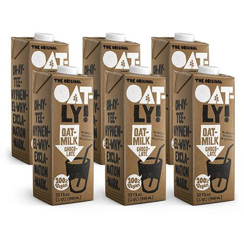 Image of 6-Pack of 32oz Oatly Chocolate Oatmilk. No dairy. No nuts. No gluten.