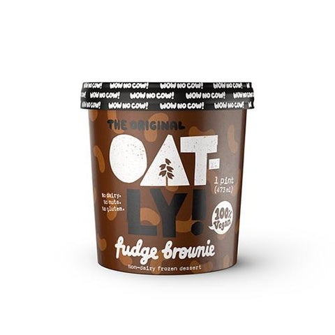 Image of One pint of Oatly Frozen Dessert Ice Cream, Fudge Brownie flavored. Non-dairy and Vegan. No gluten or nuts.