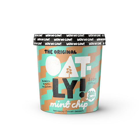 Image of One pint of Oatly Frozen Dessert Ice Cream, Mint Chip flavored. Non-dairy and Vegan. No gluten or nuts.