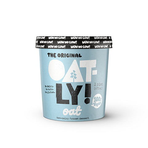 Image of One pint of Oatly Frozen Dessert Ice Cream, Oat flavored. Non-dairy and Vegan. No gluten or nuts.