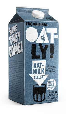 32oz Oatly Full-Fat Chilled Oatmilk. No dairy. No nuts. No gluten.