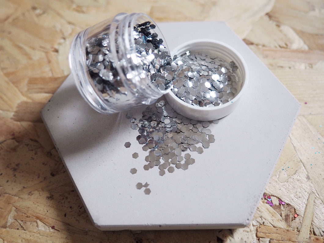 Chunky Silver Biodegradable Cosmetic Face Glitter