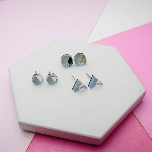 geometric acrylic laser-cut stud earrings