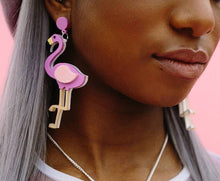 acrylic lasercut flamingo earrings