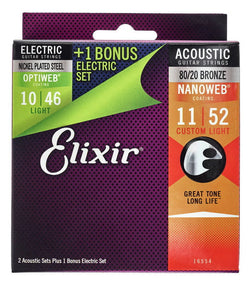 Elixir 16554 .011 Gauge Acoustic/Electric Guitar Strings (Pack of 3)