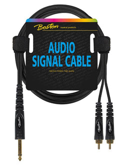 Boston Audio Signal Cable, 2x RCA to 6.3mm Jack Mono, 3.00 meter