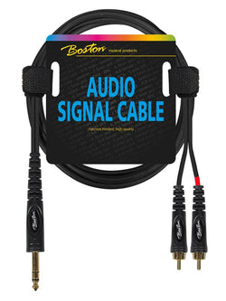 Boston Audio Signal Cable, 2x RCA to 6.3mm Jack Stereo, 0.30 meter