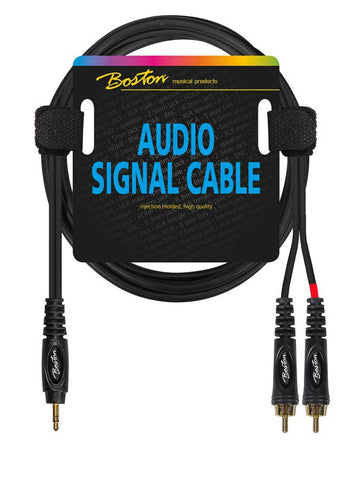 Boston Audio Signal Cable, 2x RCA to 3.5mm Jack Stereo, 3.00 Meter