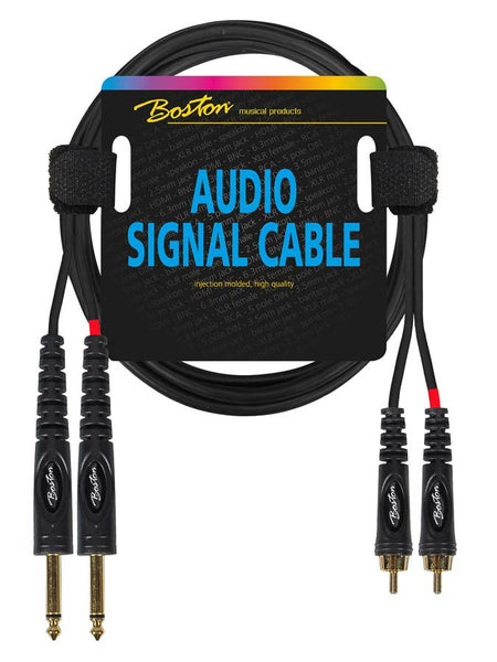 Boston Audio Signal cable, 2x RCA to 2x 6.3mm Jack Mono, 0.30 meter