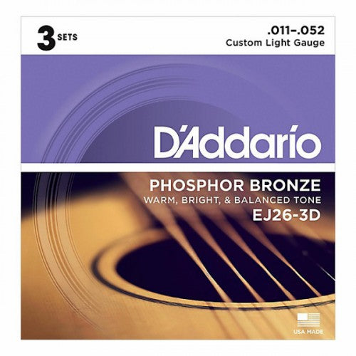 Daddario EJ26-3D . 012 Gauge Acoustic Guitar Strings