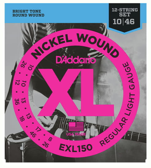 Daddario EXL150 . 010 Gauge Electric Guitar Strings (12 String Set)