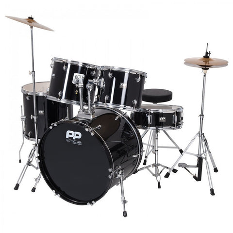 PP DRUMS JUNIOR 5 PIECE DRUM KIT- Black
