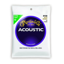 Martin M180 .010 Gauge Acoustic Guitar Strings (12 Strings)