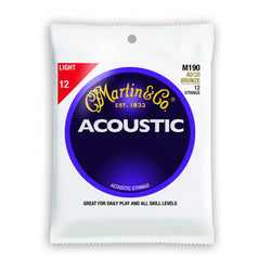 Martin M190 .012 Gauge Acoustic Guitar Strings (12 String Set)