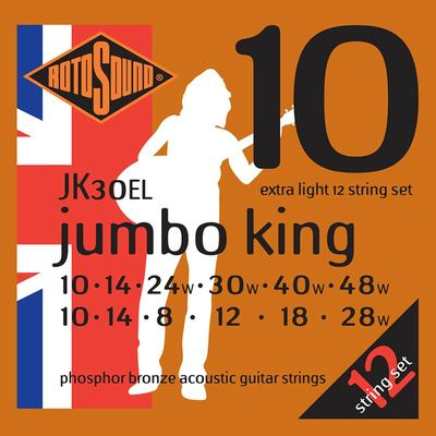 JK30EL |Rotosound Jumbo King string set acoustic 12 phosphor brounze wound 10-48