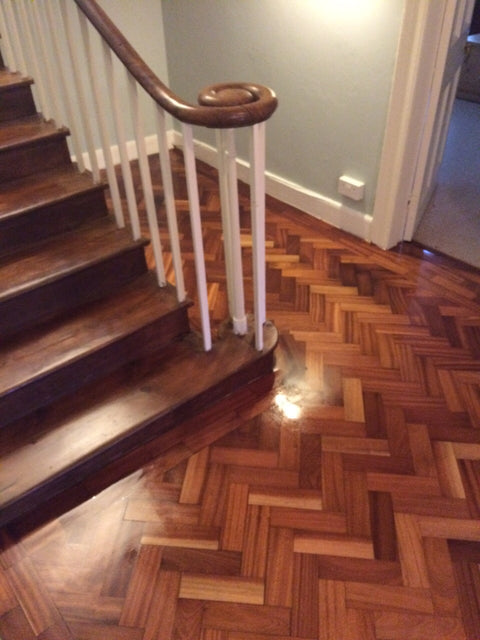 Wooden staircase with wood flooring