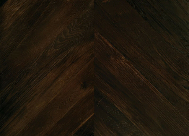 18.79m2 Unfinished Fumed Solid Oak Chevron Flooring 600x 90 x 10mm