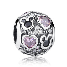 Load image into Gallery viewer, [100% 925 Sterling Silver] Heart Pink CZ Stone Lady Valentine Openwork Beads (9 Shapes)