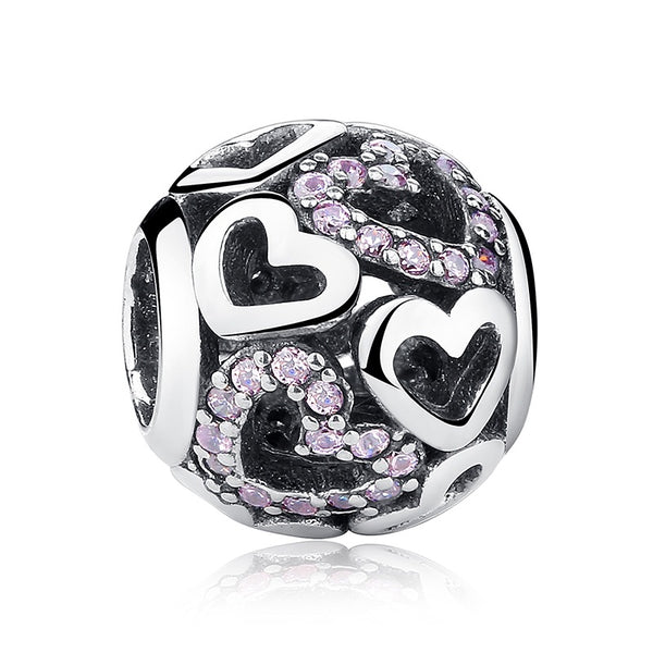 [100% 925 Sterling Silver] Heart Pink CZ Stone Lady Valentine Openwork Beads (9 Shapes)