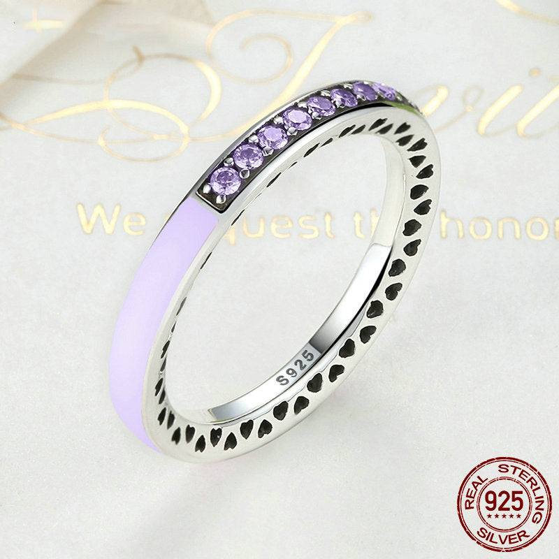 [925 Sterling Silver] 7 Colors Radiant Hearts Ring For Women
