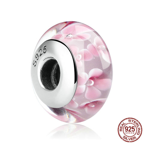 【925 Sterling Silver】 Pink Heart  Glass Beads (10 Patterns )