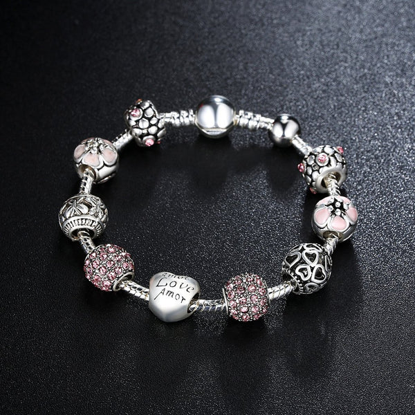 【Antique Silver】 Hot Sale Multiple Beads Charms Bracelets (Pink)