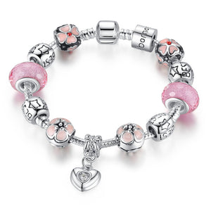 【Antique Silver】Best Friends Multiple Beads  Charms Bracelets (Pink)