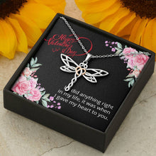 Load image into Gallery viewer, Happy Valentine's Day My Love Dragonfly Necklace - I Give My Heart To You - Valentine's Day Gift For Her