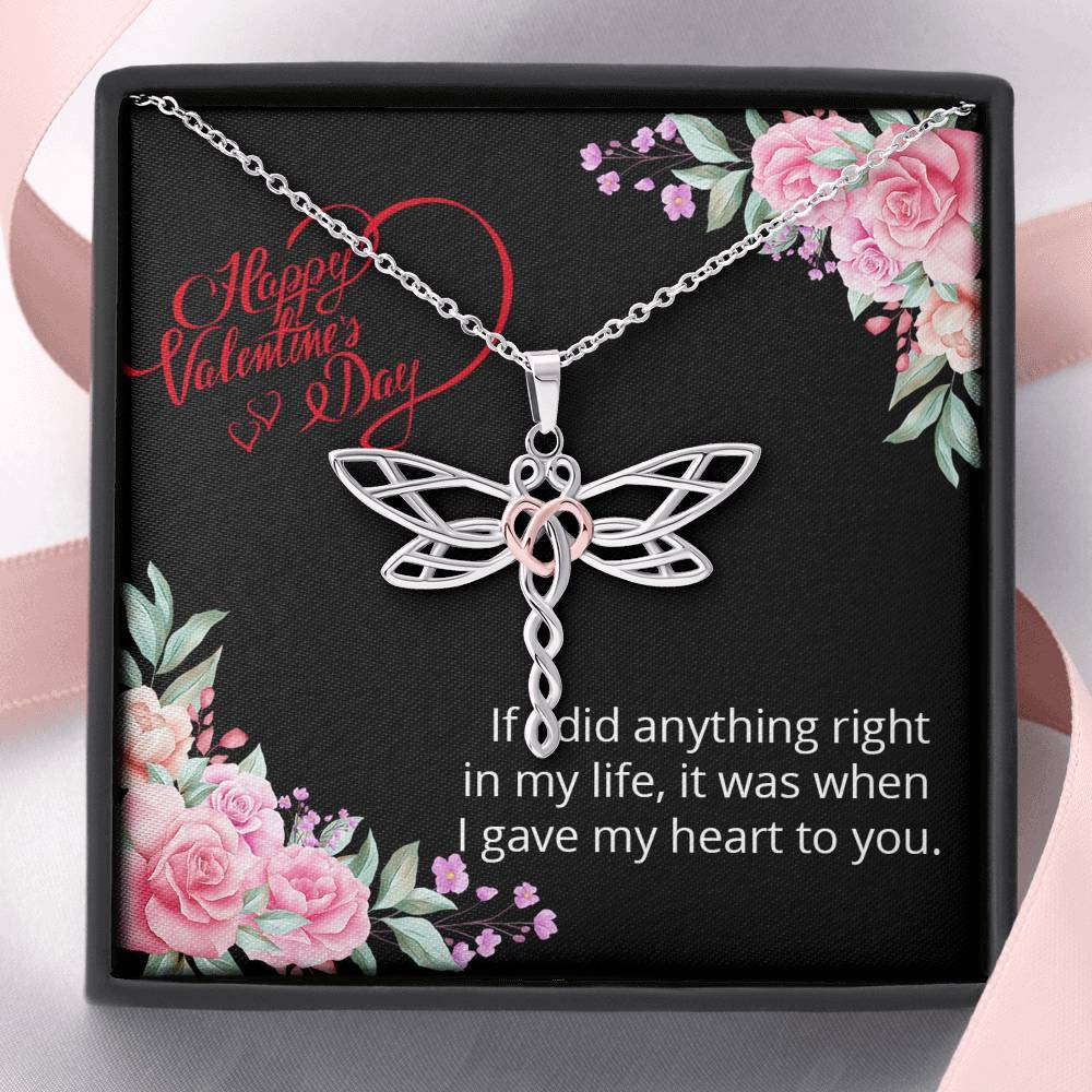 Happy Valentine's Day My Love Dragonfly Necklace - I Give My Heart To You - Valentine's Day Gift For Her