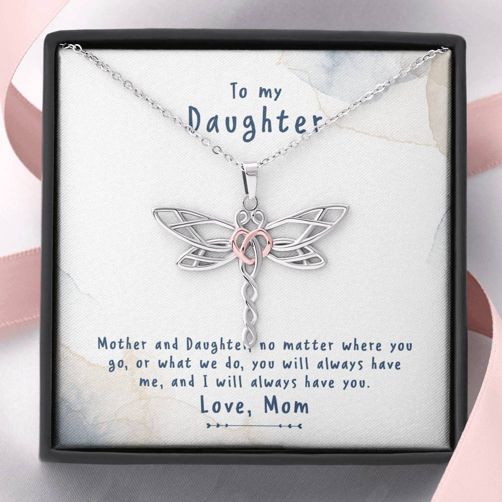 To My Daughter - Mother And Daughter - Dragonfly Necklace