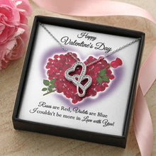 Load image into Gallery viewer, Happy Valentine's Day Roses DblHrts Wht Necklace