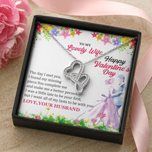 Load image into Gallery viewer, Happy Valentine's day Double Heart Necklace,