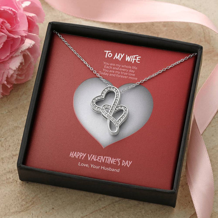 Valentine's Day Gift for Wife - Double Hearts Necklace Heart Design