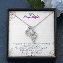 Load image into Gallery viewer, To My Soul Sister Double Heart Necklace