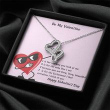 Load image into Gallery viewer, Be My Valentine L-O-V-E Double Heart Necklace