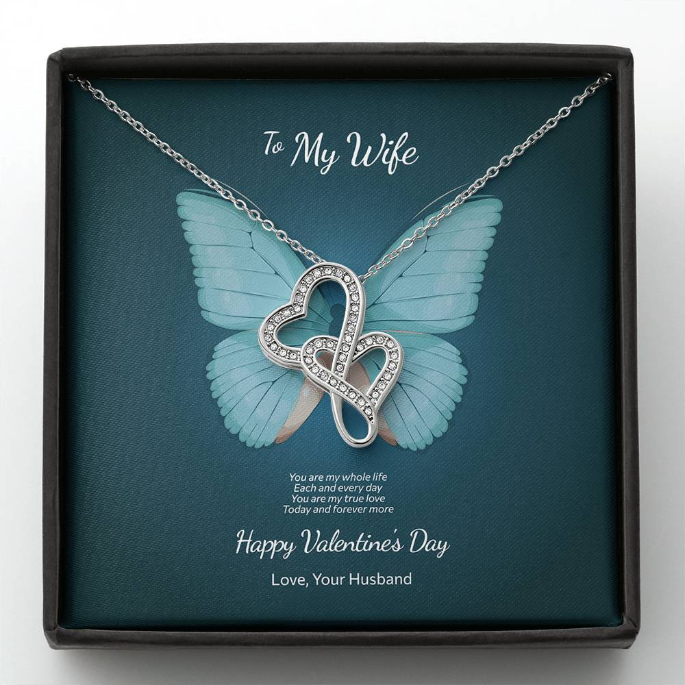 Valentine's Day Gift for Wife - Double Hearts Necklace Butterfly Design