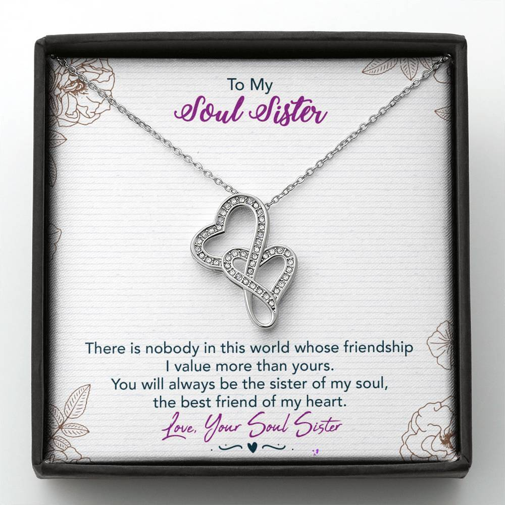 To My Soul Sister Double Heart Necklace