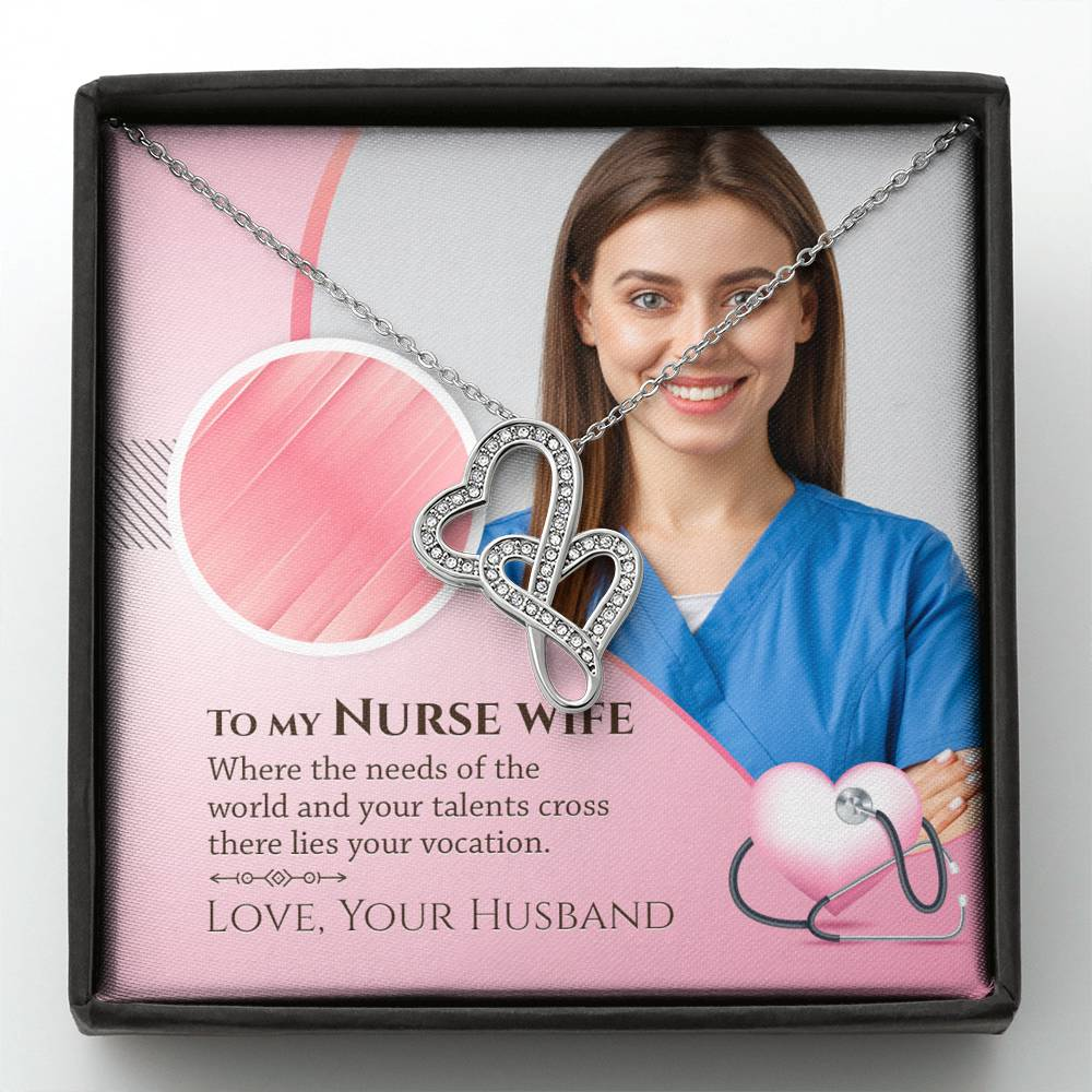 To My Nurse Wife - Gorgeous Double Hearts Necklace