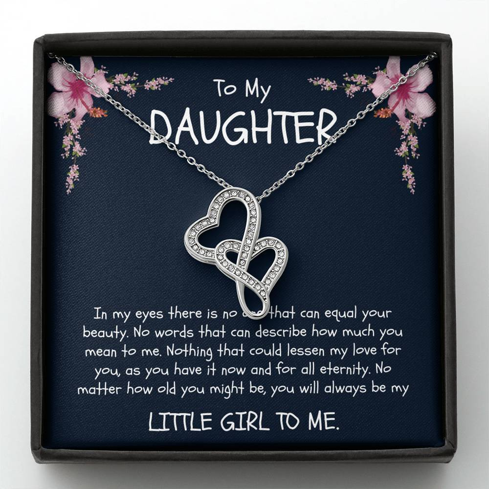 To My Daughter (stepdaughter) - Double Heart Necklace - Birthday, Graduation, Engagement, Christmas, Gift - From Dad (Father)