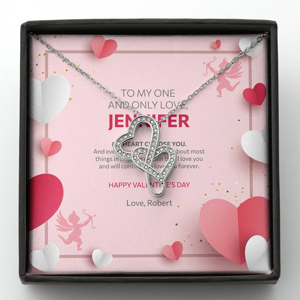 Valentine's Day Gift - Double Hearts Necklace Cupid Love Design