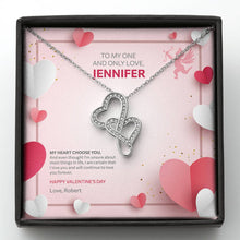 Load image into Gallery viewer, Valentine's Day Gift - Double Hearts Necklace Cupid Love Design