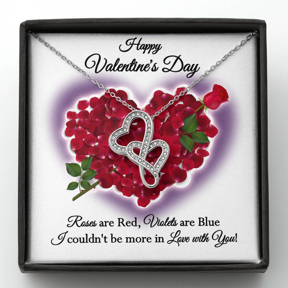 Happy Valentine's Day Roses DblHrts Wht Necklace