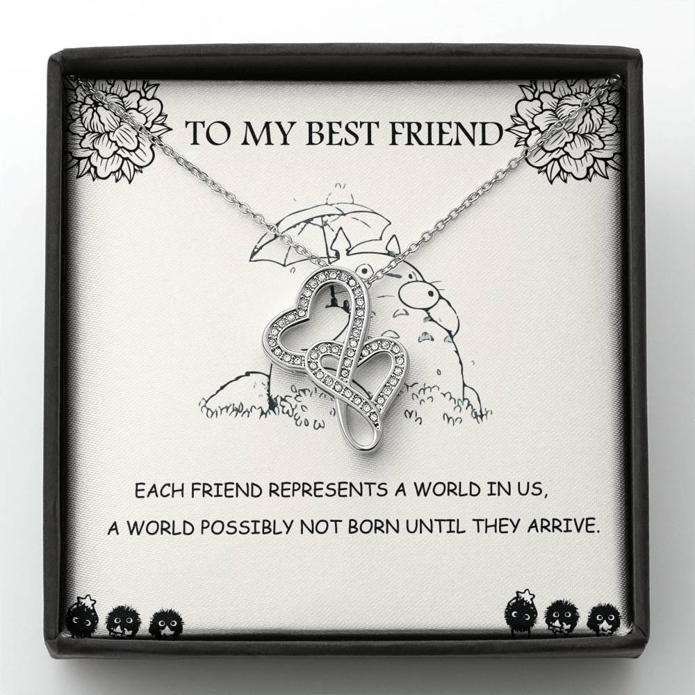 To my Best Friend - Totoro - Double heart necklace