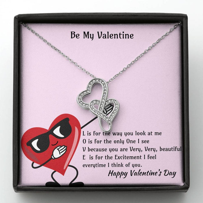 Be My Valentine L-O-V-E Double Heart Necklace