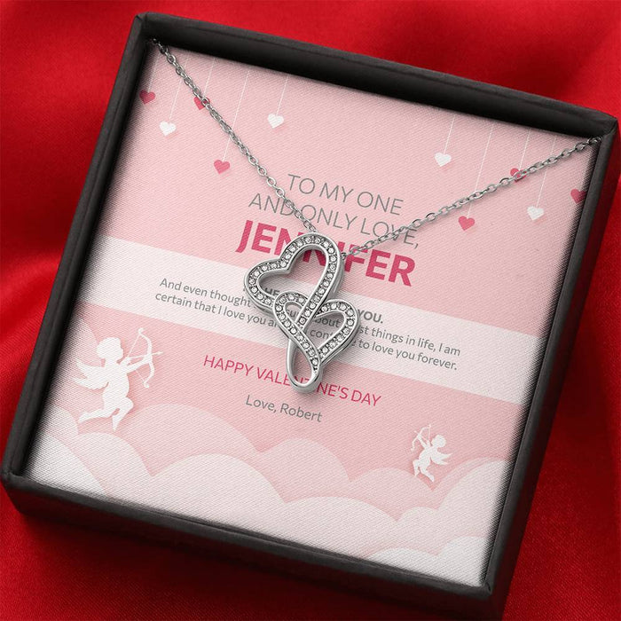 Valentine's Day Gift - Double Hearts Necklace Cupid Design