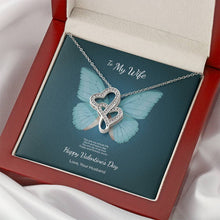 Load image into Gallery viewer, Valentine's Day Gift for Wife - Double Hearts Necklace Butterfly Design