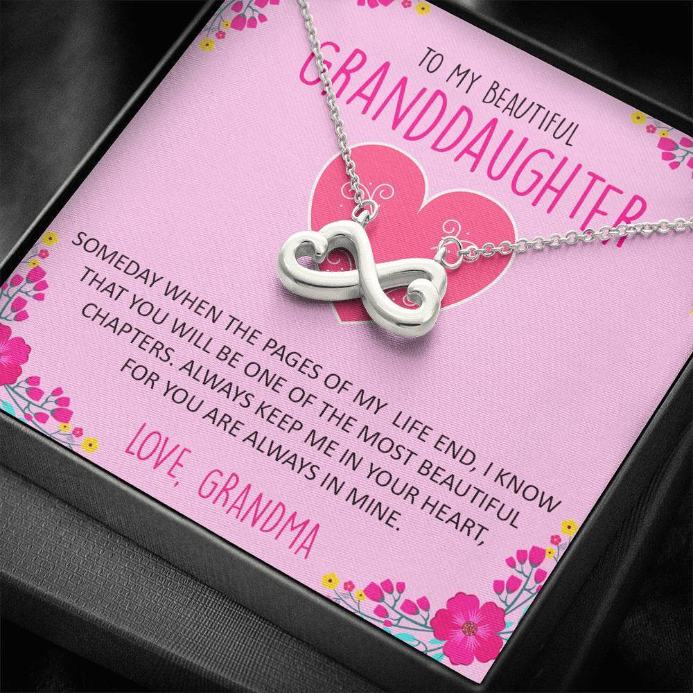 To My Beautiful Granddaughter Gift Infinity Heart Necklace,Gift for Granddaughter from Grandma